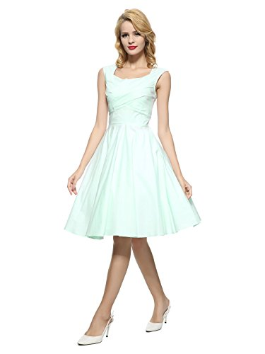 Vintage Retro Mint - Maggie Tang 50s 60s Vintage Retro Swing Rockabilly Party Dress Mint Blue XL
