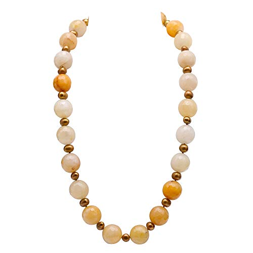 JYX Pearl Necklace 18mm Faceted Round Yellow Jade Stone with 9mm Champagne Pearl Gemstone Necklace 24.5""