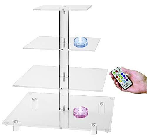 Jusalpha 4 Tier Square Acrylic Cupcake Tower Stand-Cake Stand-Dessert Stand-Cupcake holder-Pastry serving platter-Cupcake Tower for Wedding-Party Supply 4SF(With LED Light) ()