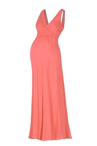 Beachcoco Women's Maternity Sleeveless V Neck Maxi Dress (L, Light Coral)