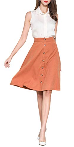 d72f6c7bffb Pytha Sight Women's A-Line Flowing Midi Skirt High Waist Pleated Twill Skirt  with Pockets