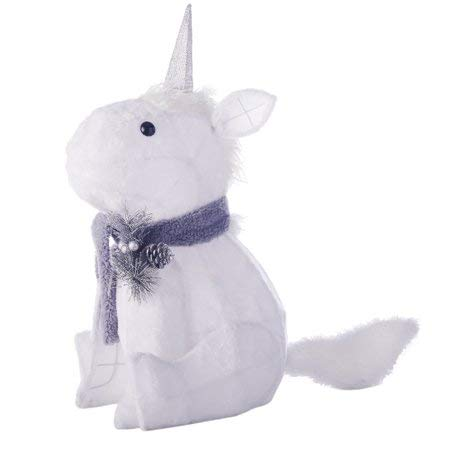 Plush Unicorn Gray & Cream with 20 Lights.  Fun, Festive and Adorable Holiday Time 20-Inch Light-Up Unicorn Helps to make the Holiday Season Extra Special for Kids,Friends and Family