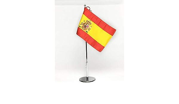 ABBE Global Bandera de Mesa Bordada de España 15x25 y mástil ...
