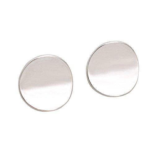 Tone Disc Earrings - Zen Styles Small Round Circle Stud Earrings Silver Tone Disc Stud Earrings for Women and Men