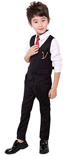 Luobobeibei Little Boys Tuxedo Suit Set 2 Pieces Formal Vest Suit Set with Waistcoat and Pants for Party Wedding 5 Black 110