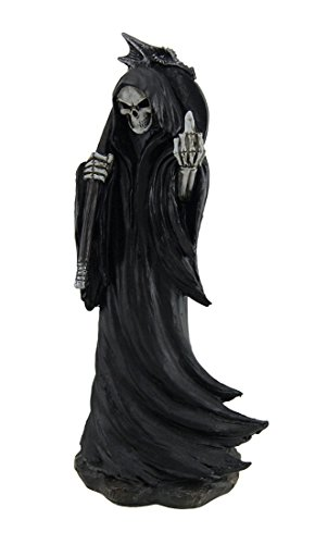 Zeckos Resin Statues Grim Grouch Reaper Flipping Bird Hand Painted Figurine 3.5 X 8.25 X 3 Inches Black