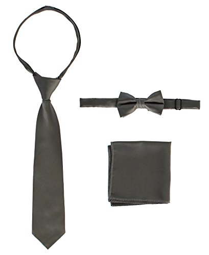 Gioberti Boys Solid Zippered Tie, Bow tie, and Handkerchief Set, Dark Gray, ()