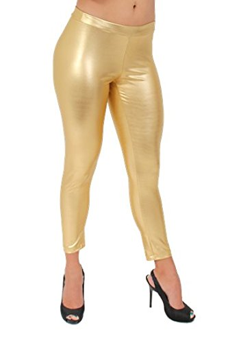 [Women's Metallic Pants Liquid Wet Sexy Hot: GOLD (Large)] (Biker Babe Costume)