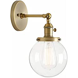 "Permo Vintage Industrial Wall Sconce Lighting Fixture with Mini 5.9"" Round Clear Glass Globe Hand Blown Shade (Antique)"