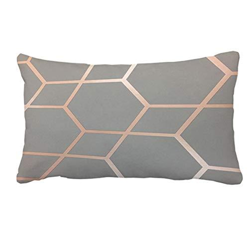 Julyou Modern Gemotric Bronze Metallic Outdoor/Indoor Throw Pillow Covers Rectangle 12 x 20in ()