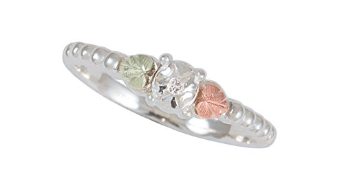 Diamond Illusion Heart-Shaped Leaf Band, Sterling Silver, 12k Green and Rose Gold Black Hills Gold Motif