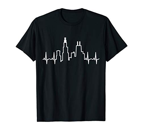 Chicago Heartbeat T-Shirt - Love Windy City Tee ()