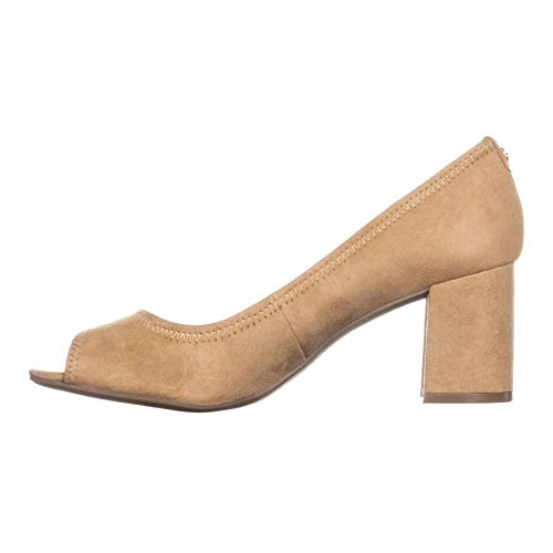 Anne Klein Womens Meredith Leather Open Toe Classic, Natural Suede, Size 10.0