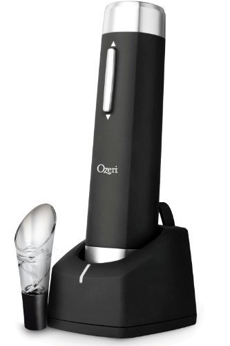 Ozeri Prestige Electric Wine Bottle Opener with Aerating Pourer, Foil Cutter and Elegant Recharging Stand
