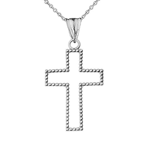 Modern Sterling Silver Two-Sided Beaded Open Cross Pendant Necklace Small (1.2