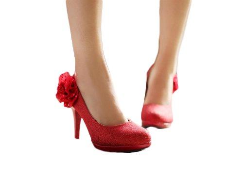 Nuovissimo Moda Fiori Pompe Tacchi Alti Scarpe Da Sposa Rosso