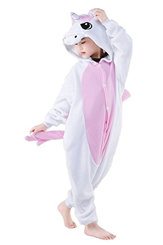 Famycos One-Piece Animal Costumes Pajama For Unisex Family School Cosplay Party Old Pink Unicorn Kids-4