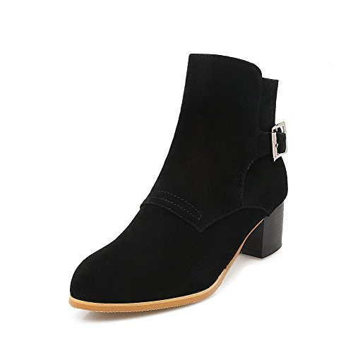 Round Allhqfashion Black Solid Women's Frosted Kitten Top Low Heels Closed Boots Toe qq64SwxUn