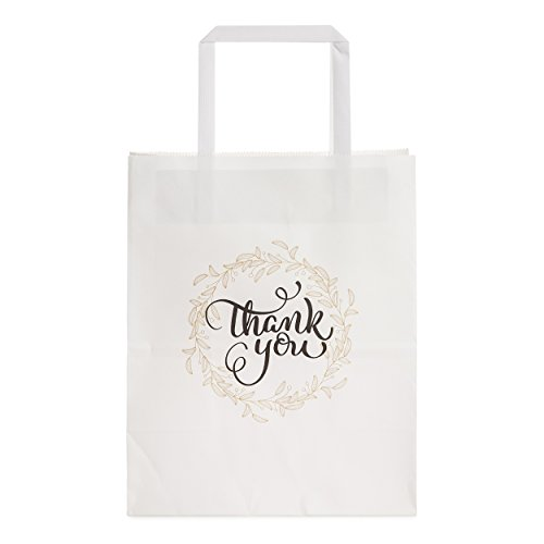 Gift Bags Bulk with Lovely Thank-You Print (NO Bows/Ribbons), Premium White Kraft Paper Bag with Handles for Gifts, Goodies, Wedding, Retail, Merchandise, Party, Fair | 50 pcs, Medium 8x4.75x10 in -