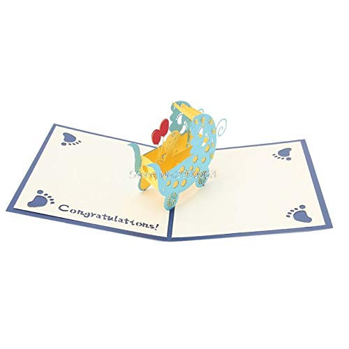 Greeting Cards - 3d Baby Carriages Greeting Card Pop Up Paper Cut Birthday Festival Party Gift Handmade Custom - Retirement Noble Tennis Plain Bulk String Loss Half Cute Italian Popup Graduatio -