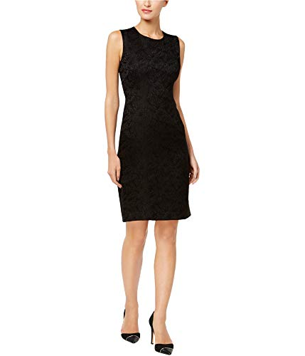 Calvin Klein Women's Sleeveles Jacquard Sheath Dress Size 12 Black