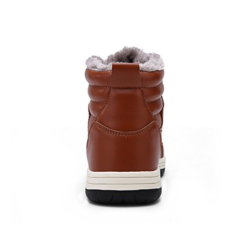 Eagsouni Mens Leather Snow Boots Lace Up Ankle Sneakers High Top Winter Shoes with Warm Fur Lining Brown 9hQg4Vkv