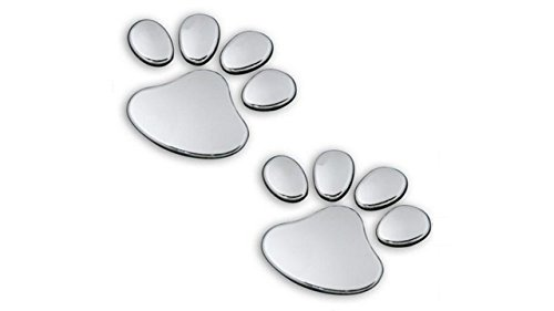 (2 Pair Credible Unique 3D Pets Paw Car Sticker Dog Foot Prints Truck Decor Animal Decal Cars Bumper Patches Decals Laptop Macbook Luggage Hoverboard Bike Graphics Window Wall Stickers Colors Silver)