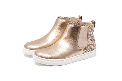 Nat & Noah | Natalie Girls Sneaker Boot Pull-on High-Top with Glitter Heel Back (Rose Gold, Little Kid Size 2 M)]()