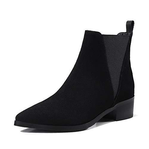 BalaMasa Womens Nubuck Low-Top Boots Black Leather Boots ABM13128-6.5 B(M) US