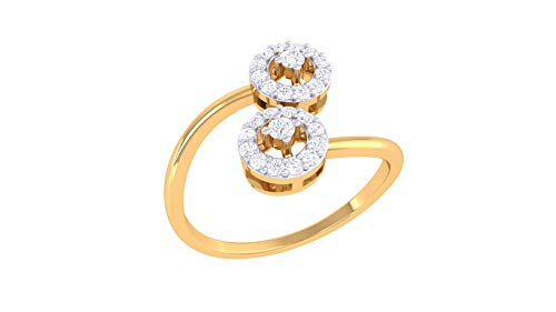Jiana Jewels YellowGold Plated Silver 0.21 Carat (G-H Color, VS2-SI1 Clarity) Lab Created Diamond Engagement Ring in US RingSize 7 ()