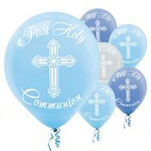 Boy's - Blue and Silver First Holy Communion Latex Balloons - 15ct]()
