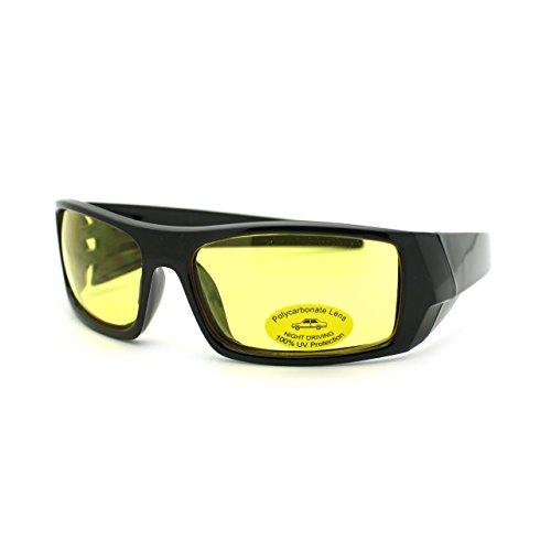 Mens Yellow Night Driving Lens Biker Style Warp Sport Riding Glasses - Glasses Bikers