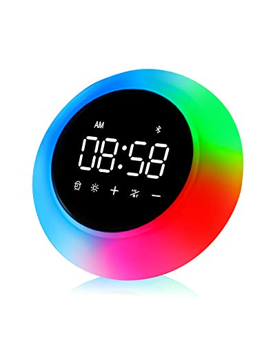 (Wake Up Light Alarm Clock for Bedroom Battery Operated Bluetooth Speaker, Upgraded Portable Music Player, 9 Color Options Night Light For Kids, Living Room Outdoor, IPX4, Rechargeable - Luna By ZIMJEE)