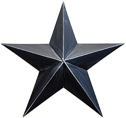 BLACK METAL TIN BARN STAR 24 -rustic primitive country indoor outdoor Christmas home decor. Interior exterior metal decorations look great hanging on house walls fence porch patio. Quality gift 24