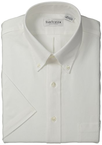 Van Heusen Men's Short-Sleeve Oxford Dress Shirt, White, 16.5'