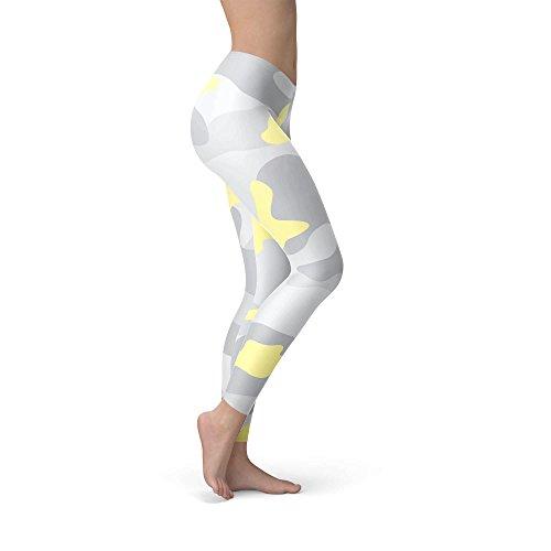 Camuflaje pastel amarillo forro polar Leggings XS-3X L