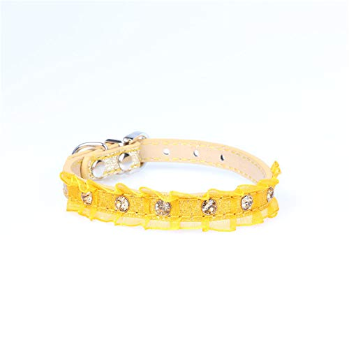 Yellow,S1.3×40cm Pet Online Pet Collar pu Material lace lace Dog Collar,Yellow,S1.3×40cm