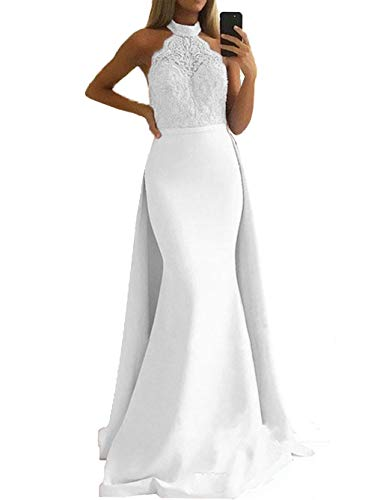 Halter Applique - SDRESS Women's Lace Appliques Illusion Long Mermaid Skirt Bridesmaid Prom Dress with Train White Size 16
