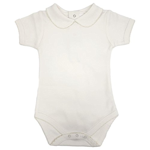 CARLINO Peter Pan Collared Bodysuit - Short Sleeve, Extra Soft, 6 Colors Available , Lite Ivory, 0-3  Months (Carlino Short)