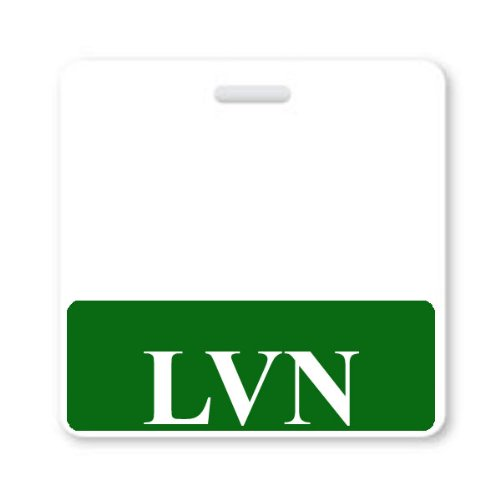 """""""LVN"""" Horizontal Nurse ID Badge Buddy with Green Border by Specialist ID, Sold Individually"""