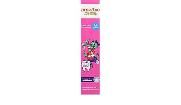 Licor del Polo Pasta de dientes Junior 6+ años Sabor Fresa - 6 x 75 ml, Total: 450 ml: Amazon.es: Salud y cuidado personal