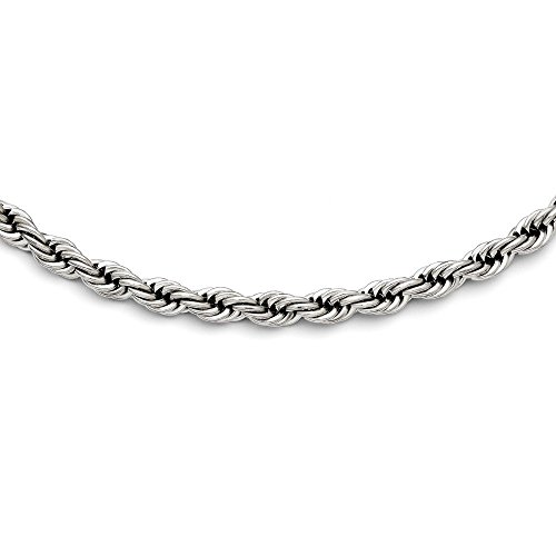 (PriceRock Stainless Steel Polished 7mm Rope Necklace 20 Inches Long)