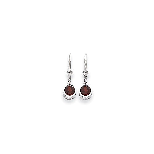 Perfect Jewelry Gift 14k White Gold 6mm Garnet Leverback Earrings
