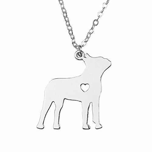 Art Attack Silvertone I Love My Dog Lover Heart Outline Boston Terrier Pet Puppy Rescue Pendant Necklace