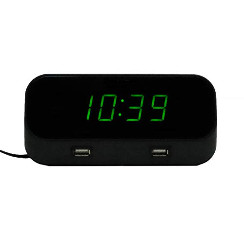 Deluxe Record Port (4K Hidden WiFi Camera Alarm Clock with NO Lens Hole - Includes 128GB MicroSD)