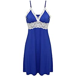 Ekouaer Sleepwear Womens Sexy Nightgown Nightie Lingerie Dress Slip,Viscose-blue,XX-Large