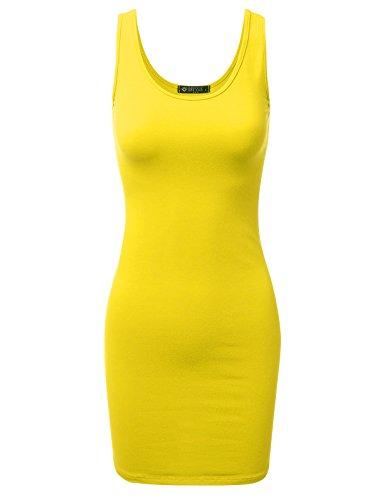 (DRESSIS Women's Basic Scoop Neck Sleeveless Bodycon Mini Tank Dress YELLOW 2XL)
