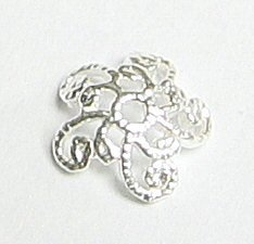 12pcs 925 Sterling Silver 7mm Filigree Flower Bead Cap