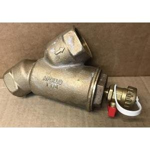 APOLLO YB114-59-006-P2/AYS125B 1-1/4''FPT CORROSION RESISTANT BRONZE BACKFLOW PREVENTIVE WYE STRAINER/W PIPE PLUGGED BLOW OUT TAP