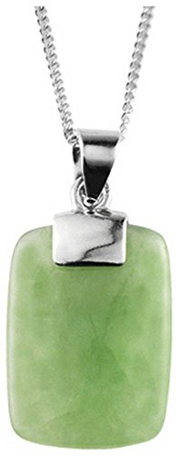 (Orton West Womens Jade Rectangle Pendant - Silver/Green)